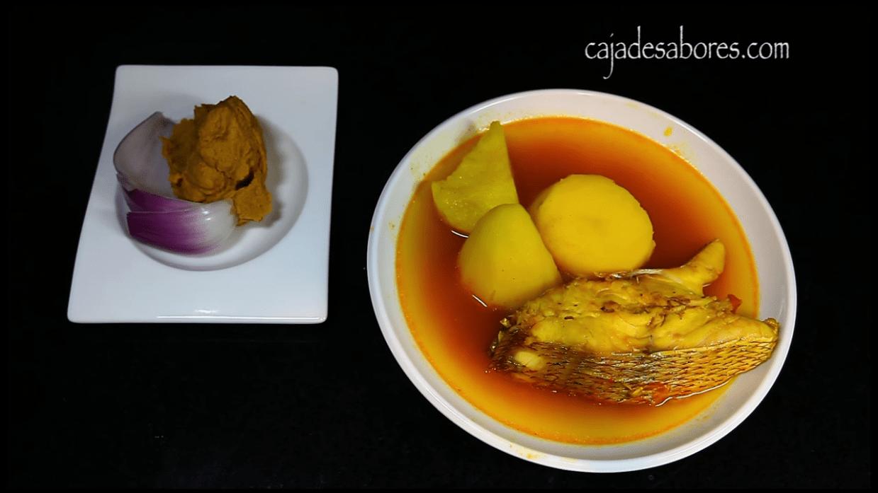 Caldo de pescado con gofio escaldado